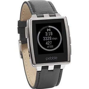 Pebble steel stainless smart watch leather band